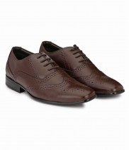 Synthetic Brown Brogue Formal Shoes