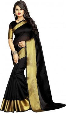 Women's Cotton Silk Solid Saree with Blouse Piece